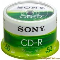 Imagen: 0 - Sony 50CDQ80SP Cdr Spindle 50PK Supl 80MIN 700MB 32X